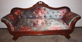 Walnut Victorian Settee And Ottoman