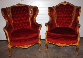 Pair Of Wing Back Chairs With Gilted Frames And Red