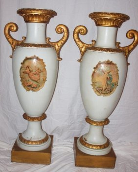 Pair Of Monumental Wood Urns With Angels, Gilt Handles