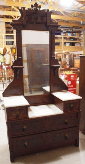 Walnut Victorian Triple Marble Top Dresser With High