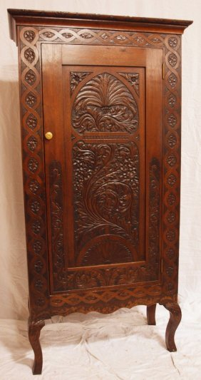 German Black Forest Single Door Cabinet On Legs,