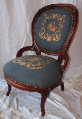 Walnut Victorian Finger Carved Parlor Chair With Needle