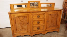 "Unusual Oak Buffet With Mirrored Back, 73""w, 50""h"
