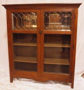 Oak Double Door Bookcase With Leaded Glass Doors And