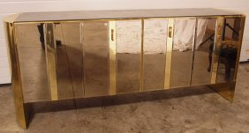 1950's Mid Century Modern Mirrored Buffet With Gold