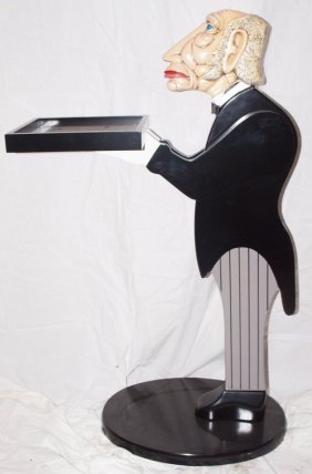 "Contemporary Figural Butler Stand 33""h"