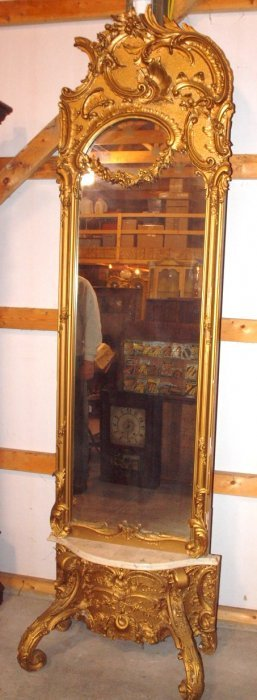 """Elegant Gilted Pier Mirror With Marble Shelf, 93""""h"""