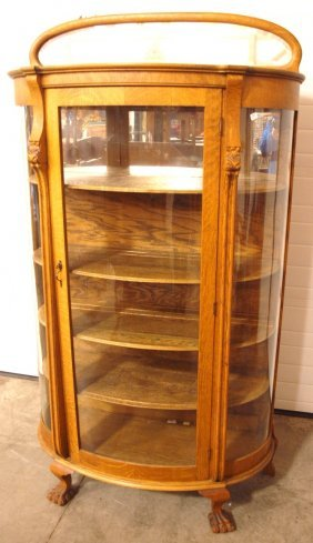 Oak Triple Curved Glass China Cabinet With Splash Back