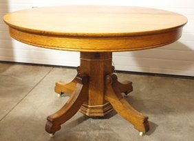 "Round Oak Dining Table With 2 Leaves, 45""d"