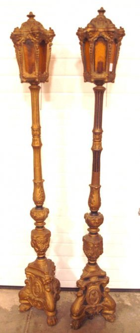 Pair Of Gilted Parlor Floor Lamps With Winged Cherubs