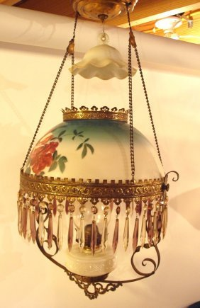 Brass Pull Down Kitchen Lamp With Painted Milk Glass