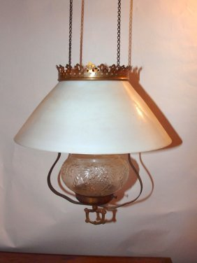 Brass Pull Down Kitchen Hanging Lamp With Milk Glass