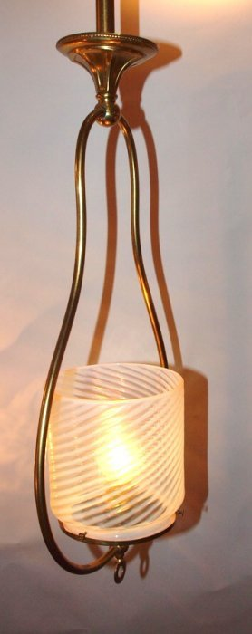 Brass Hanging Hall Lamp With Opalescent Swirl Handle