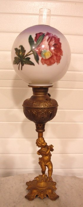 Banquet Lamp With Cherub Base And Bell Shade, 32""