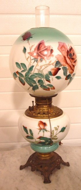 Gwtw Lamp With Roses Painted On Shade And Font