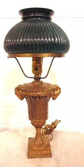 Small Table Lamp With Ram's Heads On Base, Green Cased
