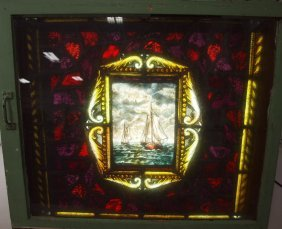 Leaded Stained Glass Window With Painted Ships At Sea