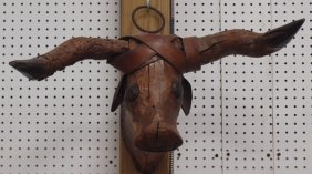 Early Carved Long Horn Steer Head With Copper Face