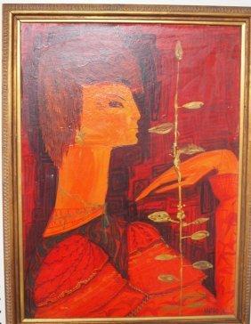 Pol Mara (1920-1998 Belgium) Mid-century Modern Oil On