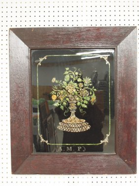 Early Tinsel Foil Art Painting Of Vase Of Flowers,