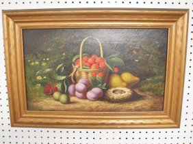 Oil On Canvas Of Fruit Still Life With Basket Of