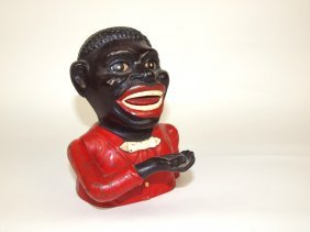 Jolly Nigger Cast Iron Mechanical Bank By Shepard