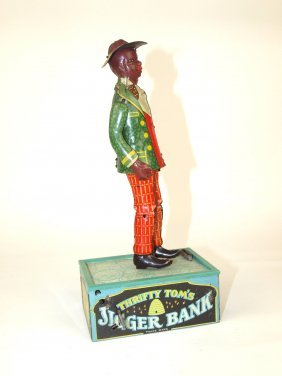 Thrifty Tom Jigger Tin Lithograph Bank By Strauss 10""