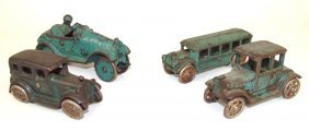 Cast Iron Lot Of 4 Cars: 2 Cars, Race Car, And Bus 4""