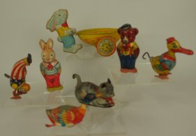 Lot Of 7 Tim Lithograph Toys- Chein - Rabbit With Egg