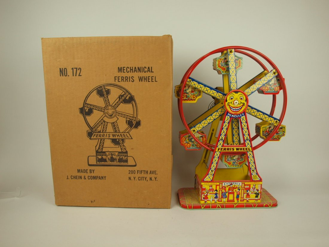 Chein Ferris Wheel tin lithograph windup toy with