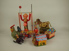 Lot Of 8 Assorted Toys, Tin Lithograph & Celluloid