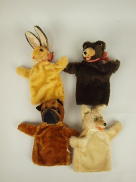 Lot Of 4 Steiff & Steiff Style Hand Puppets: Rabbit,