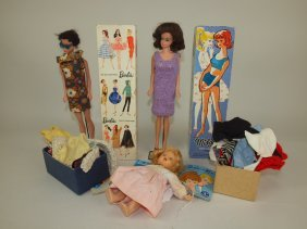 Lot Of 2 Barbie Dolls With Boxes, Manuals, And Assorted