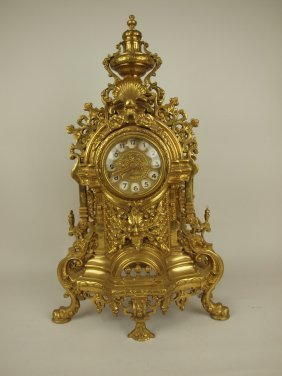 """Large Brass Mantle Clock, Replaced Works, 24"""""""