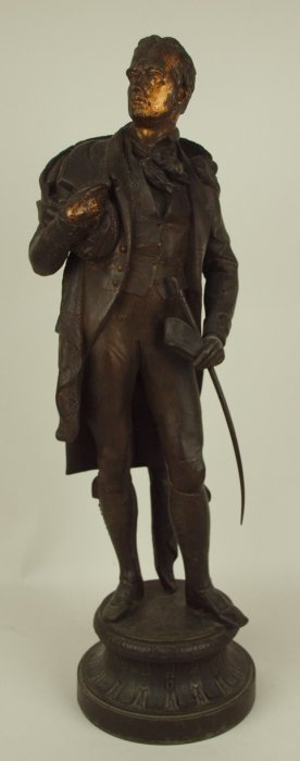 Spelter Figure Of Man, Bronze Finish, 23""