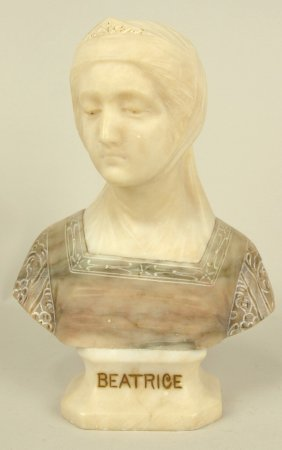 """Marble Bust Of """"beatrice"""", Italian, Signed Prof. G."""