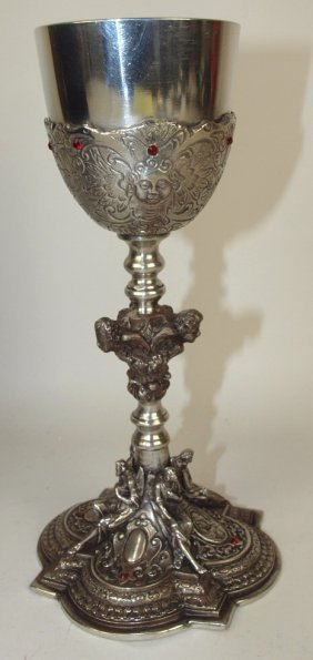 Pewter Challice With Ruby Type Stones, 4 Winged Angels
