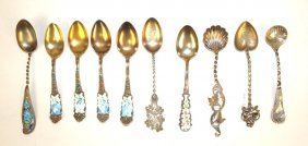 Sterling Silver Lot Of 10 Demitasse Spoons, Some With