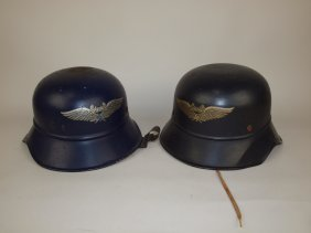 Lot Of 2 German Luftschutz Nazi Wwii Metal Helmets One
