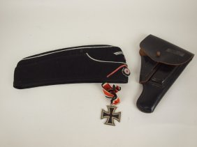 German Wwii Nazi Panzer Hat, Metal And Leather Luger
