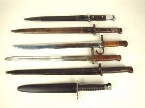 Lot Of 6 Bayonets, 5 With Scabbords