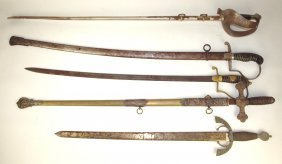 Lot Of 5 Swords, Various Condition
