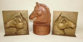 Pair Of Early Brass Horse Bookends And Early Copper