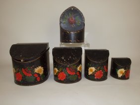 Early Tin Toleware 4 Piece Graduated Canister Set And