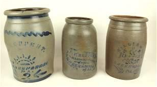 Lot of 3 salt glaze stoneware crock jars Reppert
