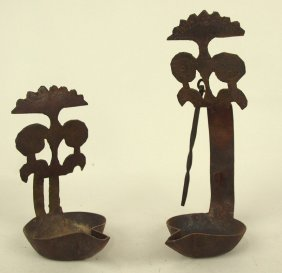 """Lot Of 2 Colonial Hand Figured Iron """"betty"""" Grease"""