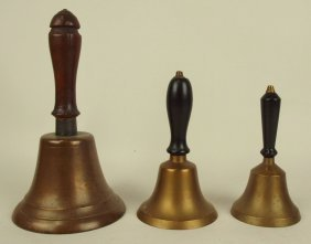 Set Of 3 Graduated Brass Hand School Bells