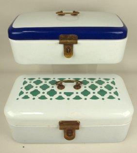 Lot Of 2 Dutch German Graniteware Bread Boxes, Green &