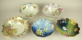 """Lot Of 5 Hand Painted China Deep Bowls, 9"""" To 10 1/2"""""""