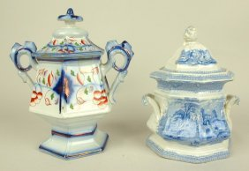 "Gaudy Welsh Sugar, 8 1/2"" And Blue Transfer Ware"